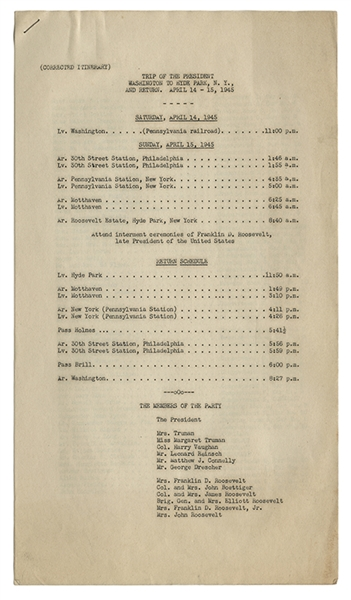 "FDR Funeral Train: Original Three Page ""Corrected Itinerary"" of the ""Trip of the President – Washington, D.C. to Hyde Park, NY."""
