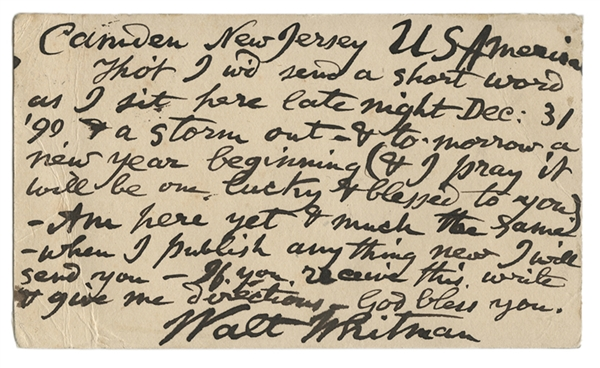 "New Year's Eve Postcard Signed, ""Walt Whitman,"" to the Poet Gabriel Sarrazin."