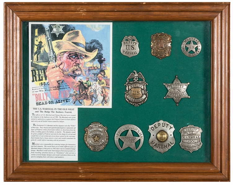 Lot Detail - A mounted collection of U S  Marshall Badges