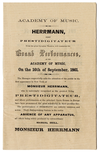 Herrmann, First Prestidigitateur.