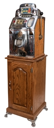O.D. Jennings 10 Cent Club Chief Slot Machine With Stand.