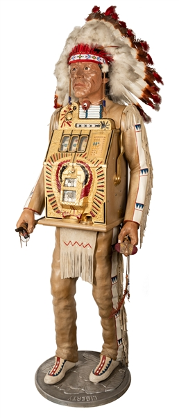 Mills 5 Cent Full Figure Indian Chief with War Eagle Slot Machine.