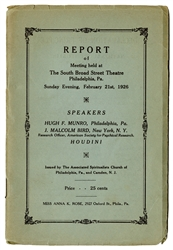 Report of the Meeting Held at the South Broad Street Theatre Philadelphia, Pa.