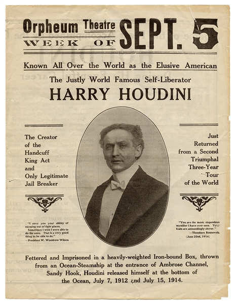 The Justly World Famous Self-Liberator Harry Houdini.
