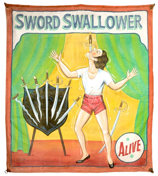 Sword Swallower Sideshow Banner.