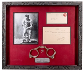 Houdini Signed Letter, Houdini Key, and Houdini-Era Handcuffs