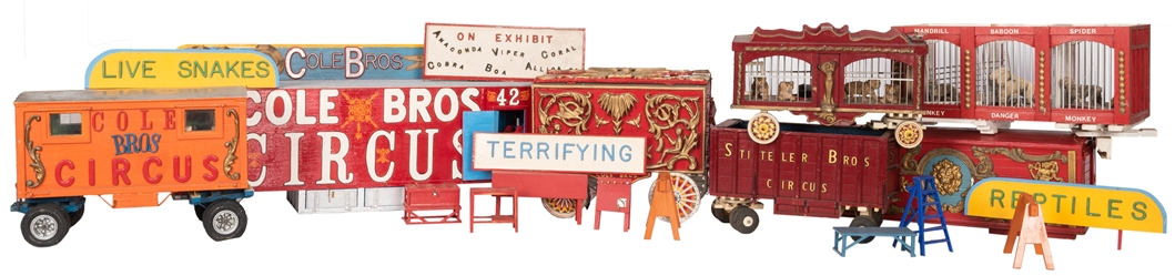 Group of Circus and Side Show Model Trains, Wagons, and Parts