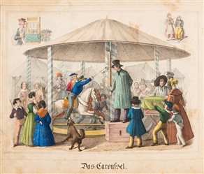 Bound Volume of German Hand Colored Carnival Engravings.