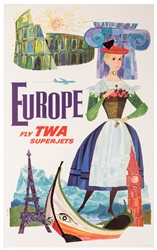 Europe. Fly TWA Superjets.
