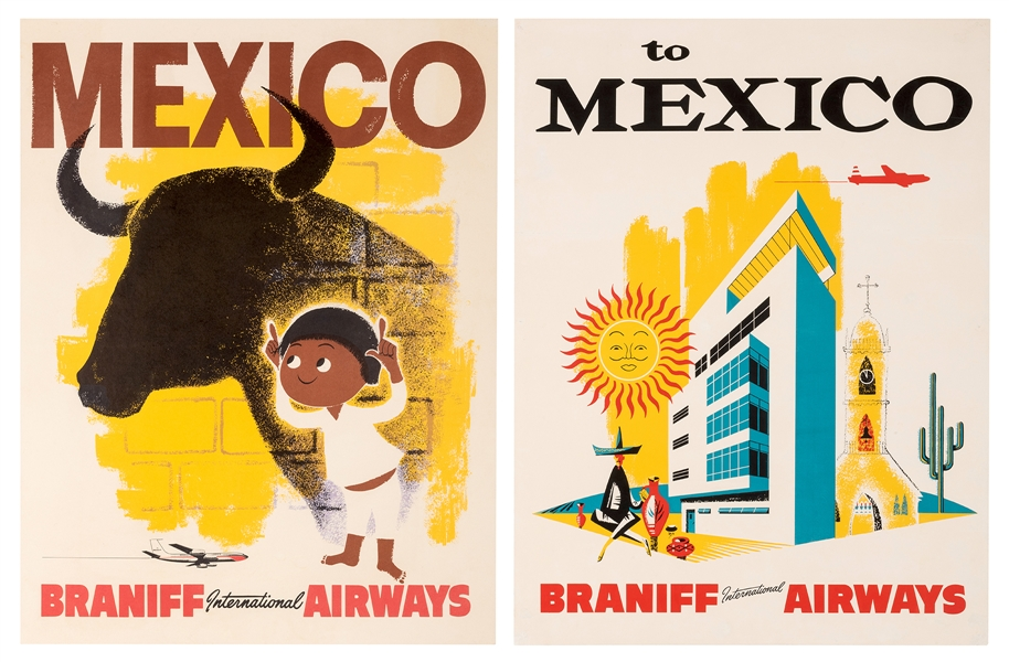 Mexico. Braniff International Airways. Two Travel Posters.