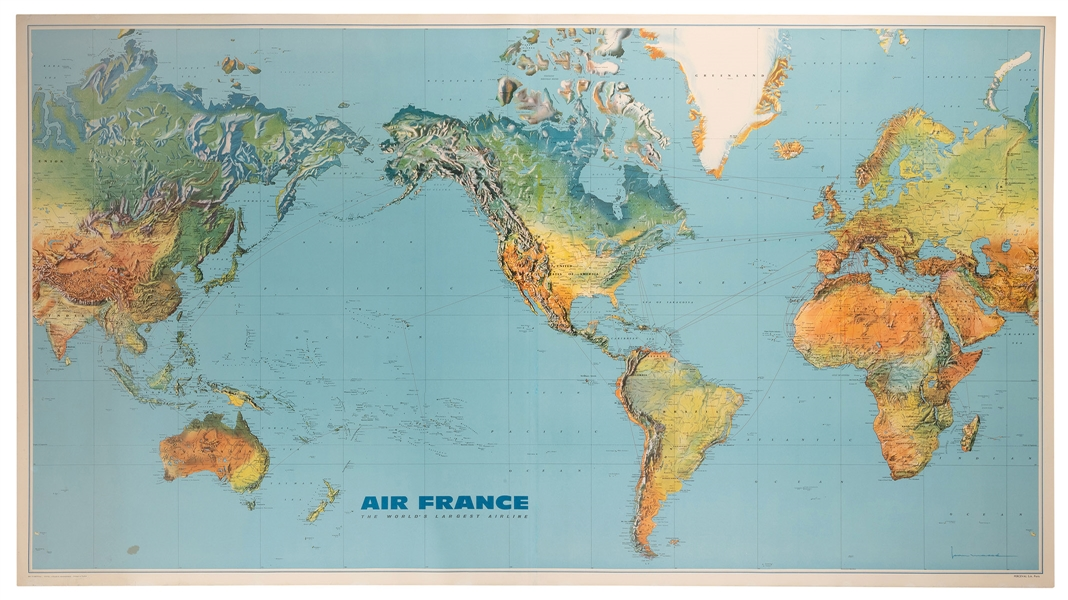 Air France. Large World Map Airways Route Poster.