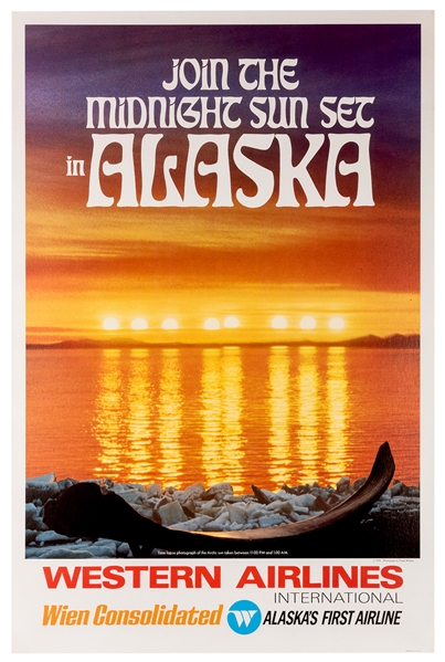 Join the Midnight Sunset in Alaska. Western Airlines International.