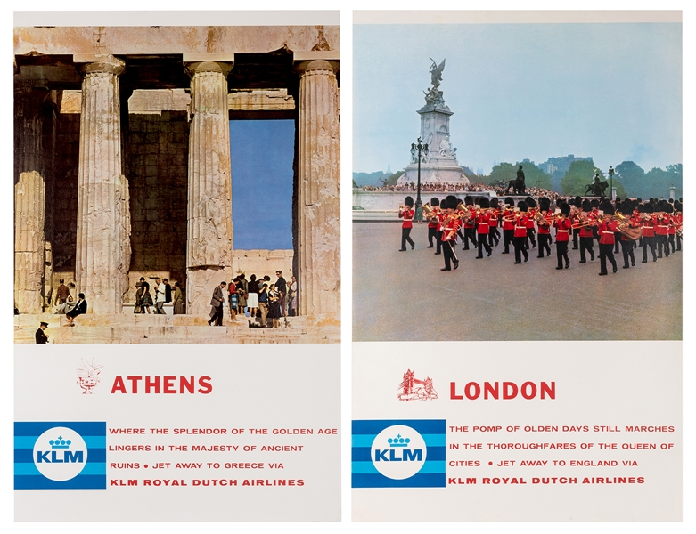 KLM Royal Dutch Airlines. London and Athens. Two Travel Posters.