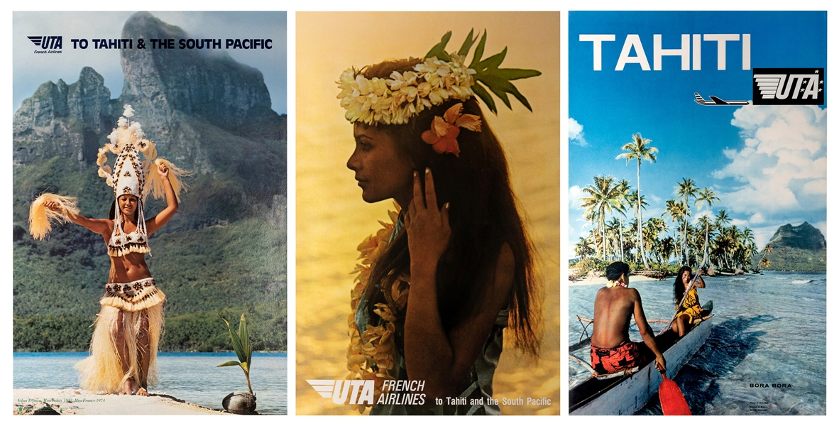 UTA. Tahiti and the South Pacific. Three Original Airline Travel Posters.