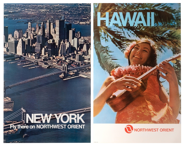 Northwest Orient. New York. Hawaii. Two Original Airline Posters.