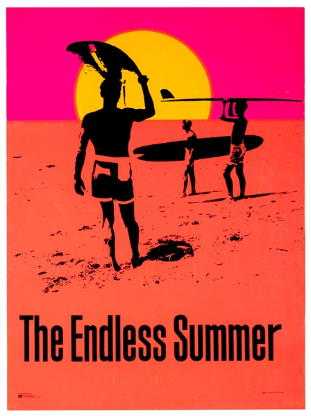 The Endless Summer. Original Day-Glo Silkscreen Surfing Poster.