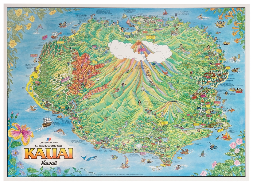Map of Kauai, Hawaii. United Airlines. Our Little Corner of the World.