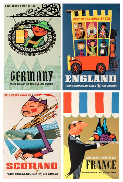 Trans Canada Air Lines. Four Original Airline Travel Posters.