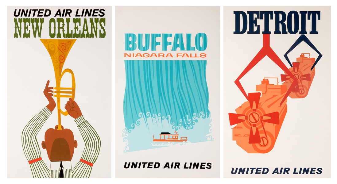 United Air Lines. Three Original Airline Travel Posters.