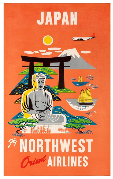 Japan. Fly Northwest Orient Airlines.