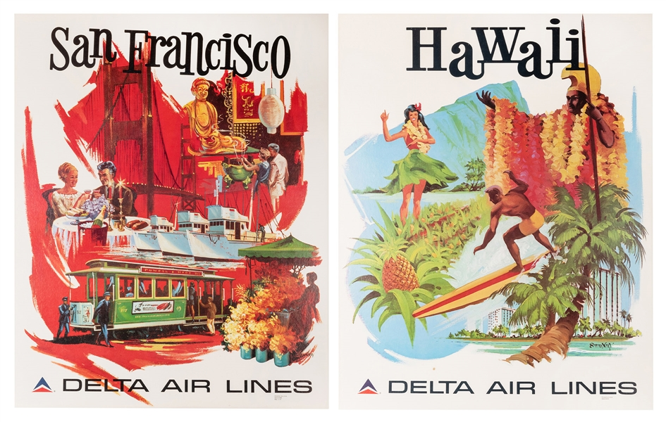 Delta Air Lines. Two Original Airline Travel Posters.