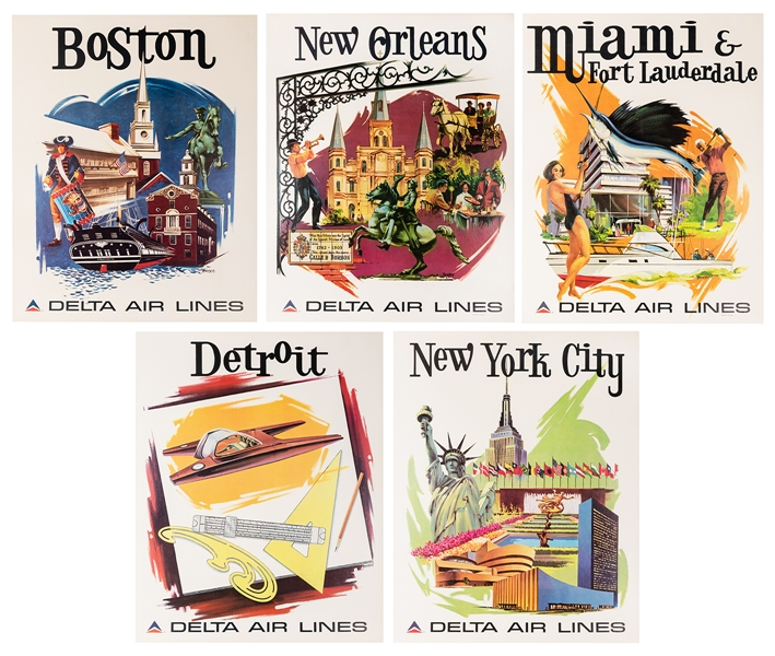 Delta Air Lines. Five Original Airline Travel Posters.