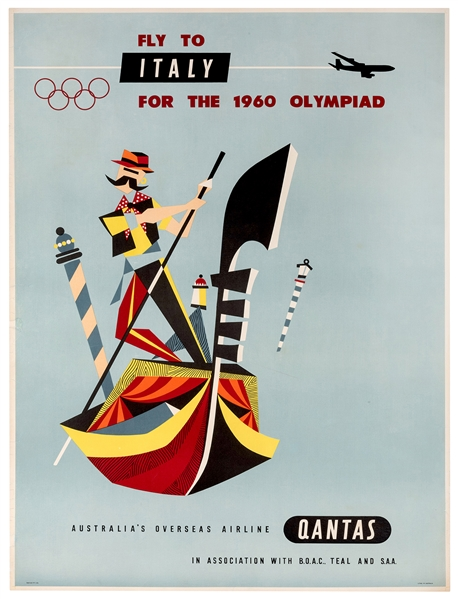 Fly to Italy for the 1960 Olympiad. Qantas.