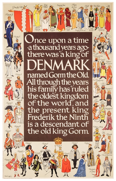 Kings of Denmark. Vintage Travel Poster.