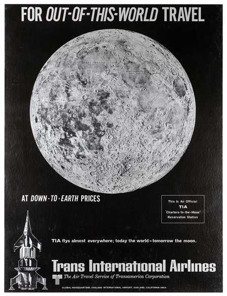 Trans International Airlines. Out of This World. Map of the Moon.