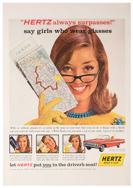 Hertz Rental Car Travel Poster. Hertz Always Surpasses, Says Girl Who Wears Glasses.