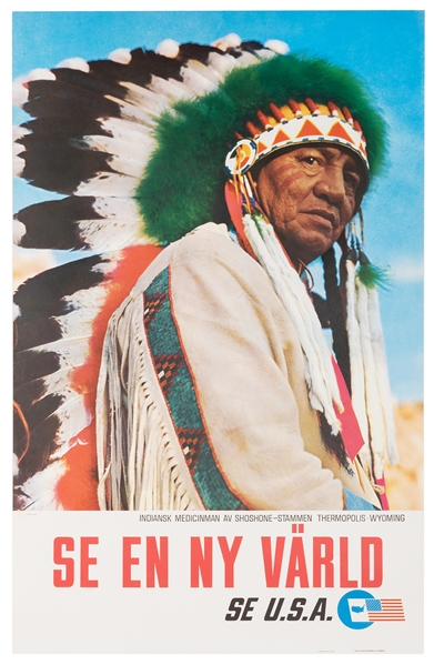 Danish Travel Poster. Wyoming. Shoshone Medicine Man Poster.