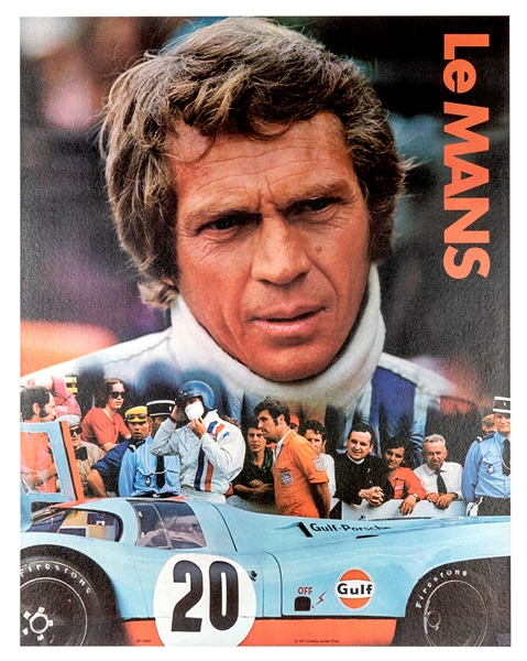 Steve McQueen Le Mans Gulf Oil Promotional Poster.