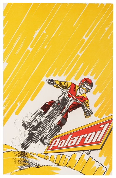 Polaroil Motorcycle Race Advertising Poster.
