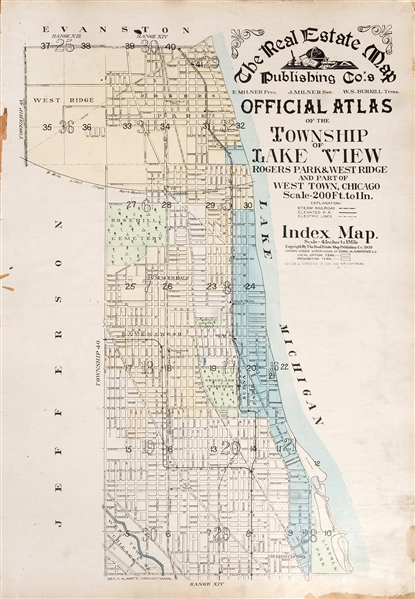 Official Atlas of the Township of Lake View, Rogers Park & West Ridge, and Part of West Town, Chicago.