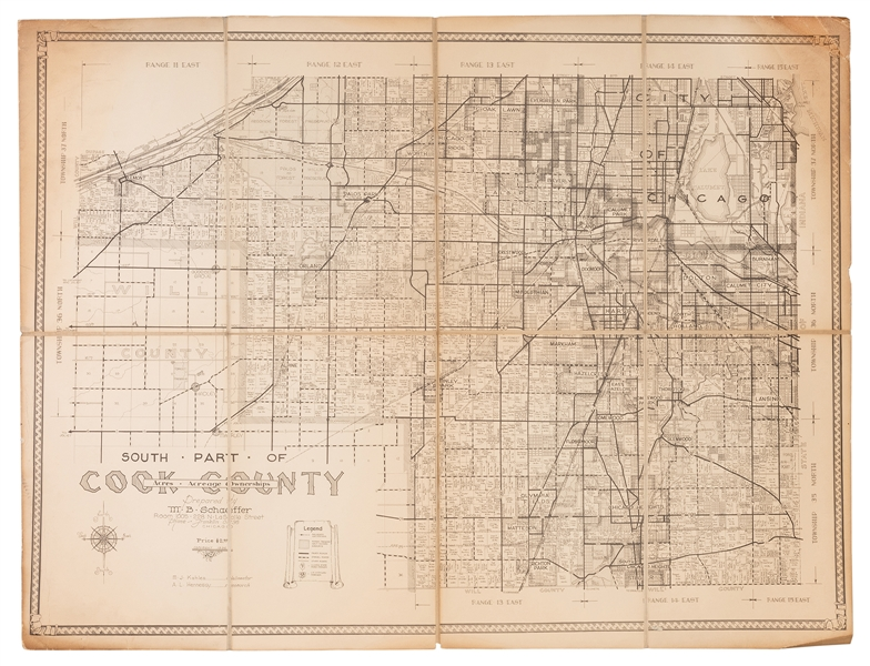 M.B. Schaeffer. Map of the South Part of Cook County. 1936.