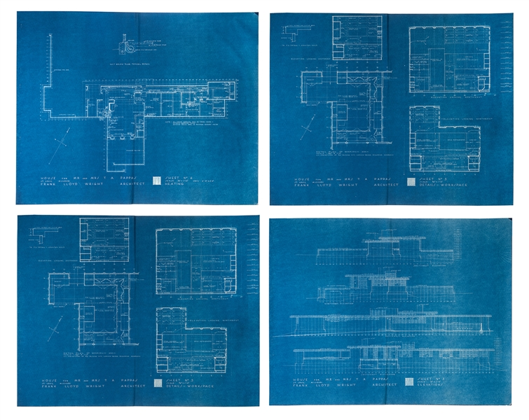 Frank Lloyd Wright. Four Blueprints to the Theodore A. Pappas House.