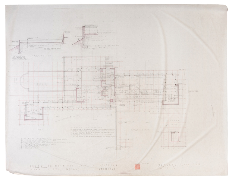 Frank Lloyd Wright. Signed Original Floor Plan for the Louis Frederick House.