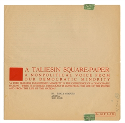 A Taliesin Square-Paper: A Nonpolitical Voice from Our Democratic Minority.