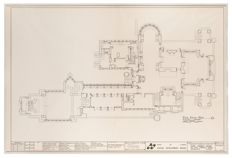 First Floor Plan to Frank Lloyd Wright's Dana Thomas House.