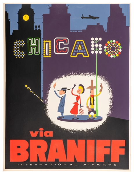 Chicago via Braniff Airways.