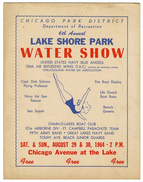 Lake Shore Park Water Show. Chicago Park District. 1964.