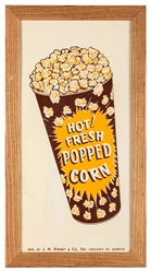 Hot! Fresh Popped Corn Advertising Sign. J.H. Keeney, Chicago.