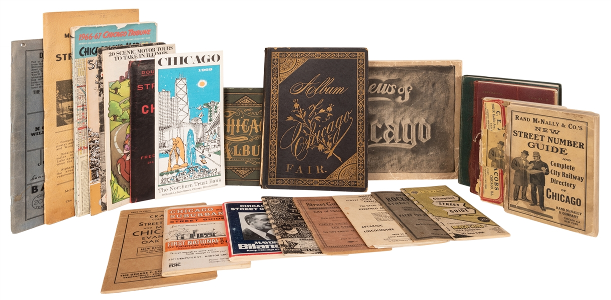 Collection of 30 Street Guides, Maps, and Souvenirs of Chicago and Surrounding Regions.