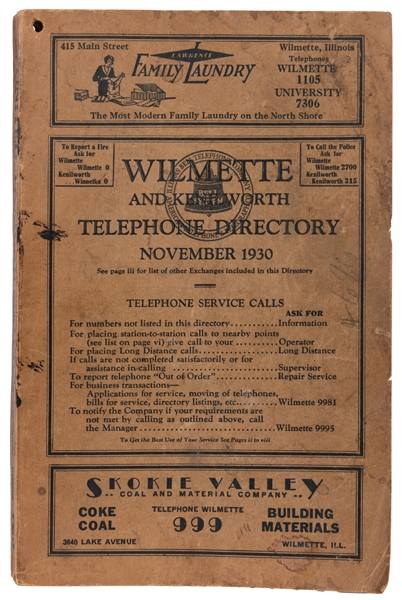 Wilmette and Kenilworth Telephone Directory. 1930.