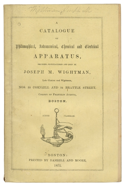 Joseph M. Wightman. Catalogue of Philosophical, Astronomical, Chemical, and Electrical Apparatus.