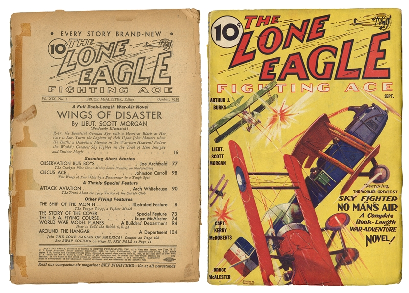 The Lone Eagle. Two Pulp Magazines.