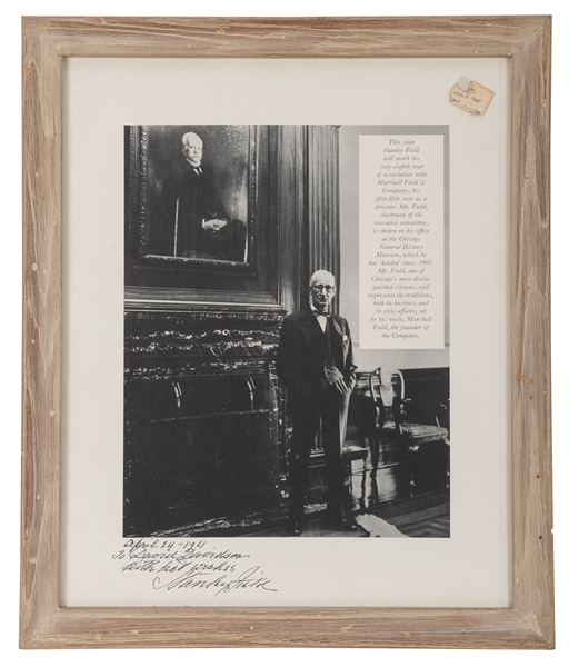 Inscribed and Signed Portrait of Stanley Field.