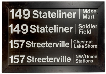 Large CTA Stateliner / Streeterville Bus Stop Sign.