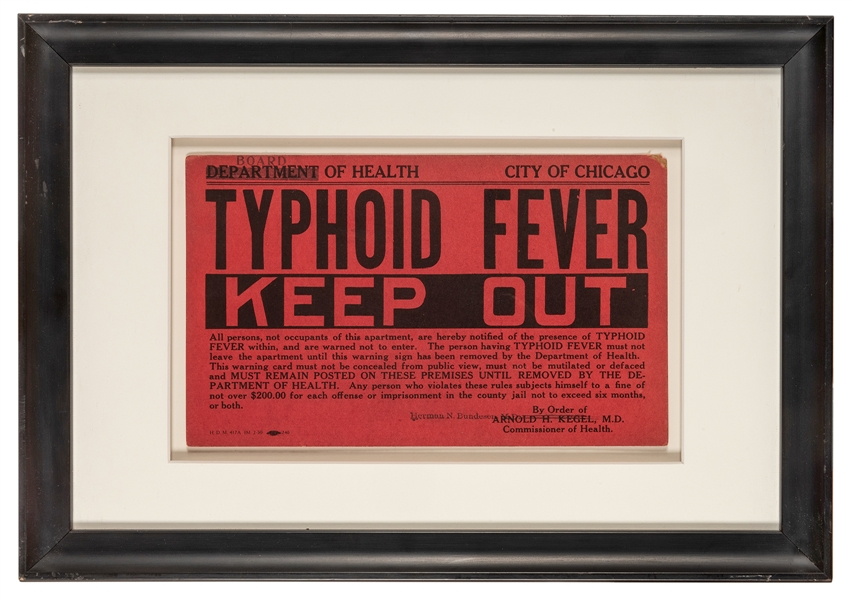 Chicago Typhoid Fever Quarantine Sign.