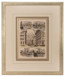 Pair of Framed 19th Century Prints of Chicago.